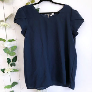 Navy Cap Sleeve Blouse Top Size Small